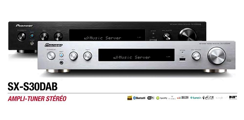 Amplificateur réseau de 2 x85 Watts avec tuner FM et DAB/DAB+, Bluetooth®, Wi-Fi™, DLNA-1.5  - PIONEER SX-S30DAB