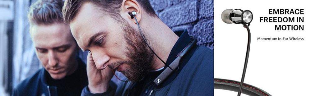Casque intra-aural Bluetooth® btour de cou avec tunnels sonores en acier, HP dynamiques - SENNHEISER MOMENTUM In-Ear Wireless