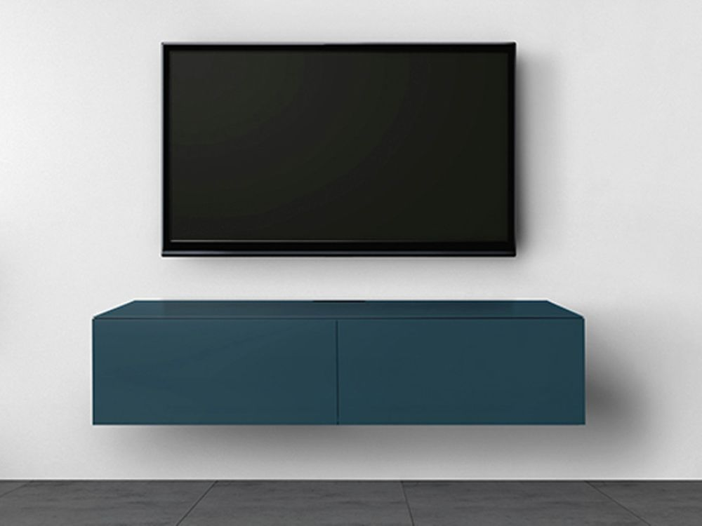 Meuble tv norstone trocadero bleu p trole for Meuble tv stone but