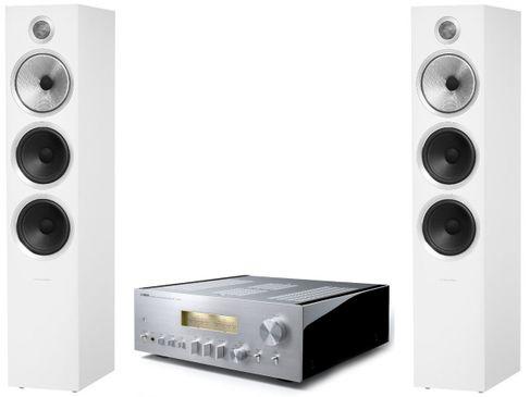 YAMAHA A-S2100 Silver + B&W 703 S2 Satin White