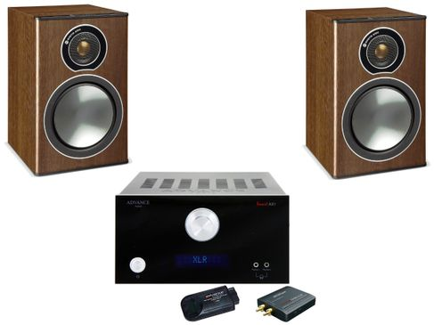 Advance MyConnect AX1 Noir + Monitor Audio Bronze 1 Noyer