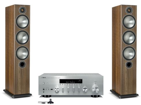 Yamaha R-N803D Silver + Monitor Audio Bronze 6 Noyer