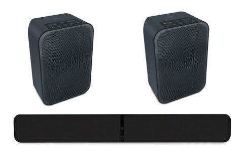 BLUESOUND SOUNDBAR 2i Noir + PULSE FLEX 2i Noir x2
