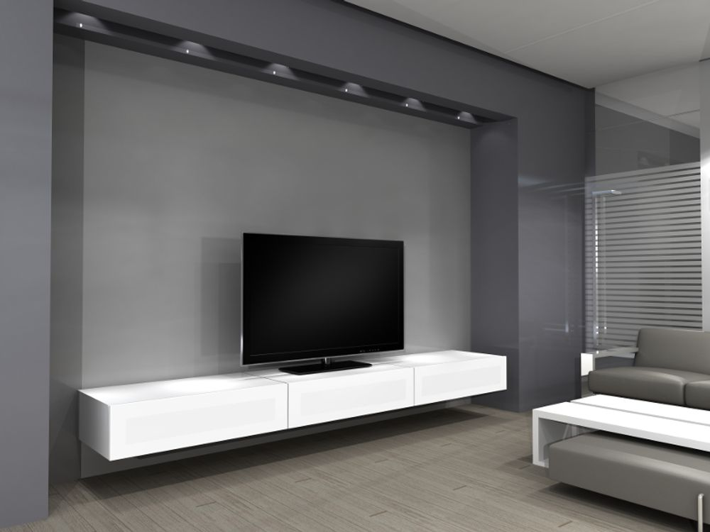 Norstone khalm blanc meubles et pieds tv for Meuble tv suspendu blanc